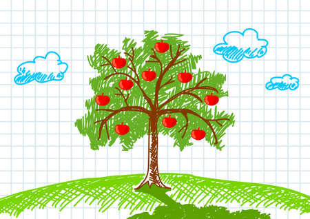 Drawing of apple-tree Vector