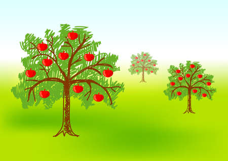 Three apple-trees Vector