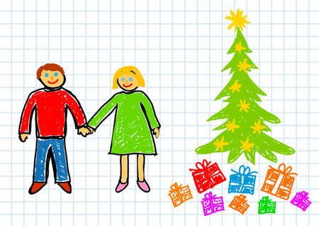 Christmas drawing Vector