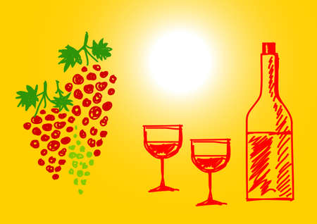 Drawing of grape and wine     Vector