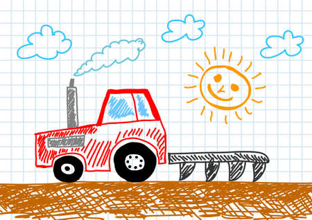 Drawing of tractor     Illustration