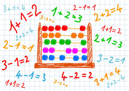 maths: Drawing of abacus Illustration