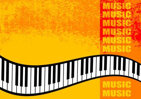 Musical orange background  Vector
