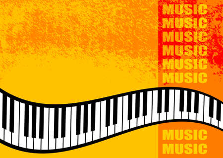 Musical orange background  Illustration