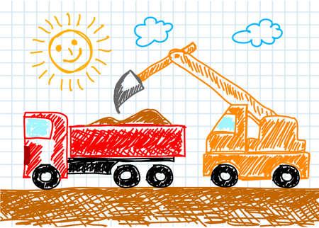 earth moving: Dibujo de un cami�n Vectores