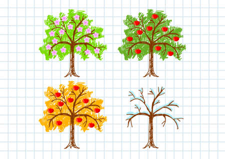 appletree: Drawing of apple-trees