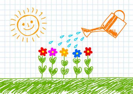 Drawing of garden Vector