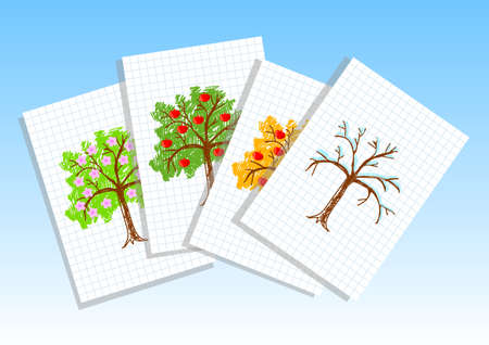 Drawing of apple-trees  Vector