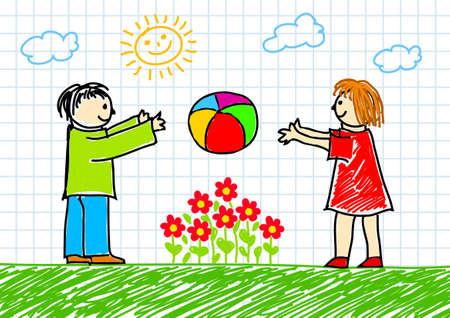 Drawing of children Stock Vector - 11944487