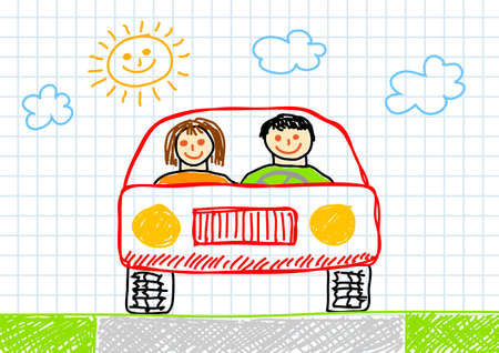 Drawing of red car Vector