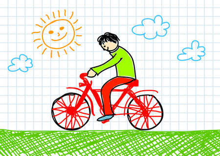 Drawing of red bicycle      Vector