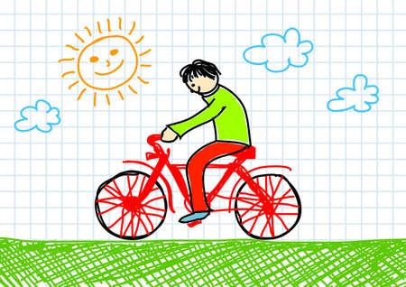 Drawing of red bicycle 版權商用圖片 - 11944485