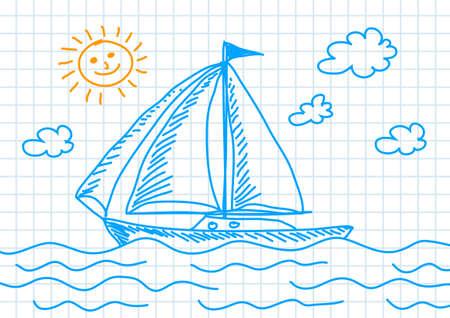 Tekening van blauwe zeilboot
