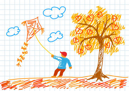 Drawing of autumn landscape  Vector