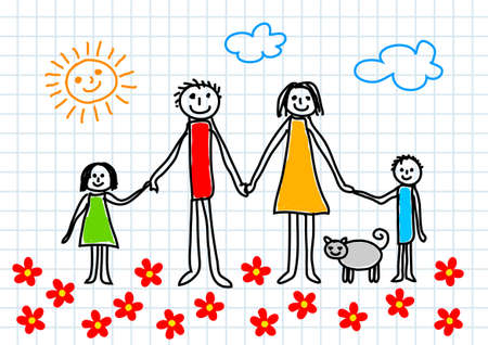 mamans: Dessin de la famille