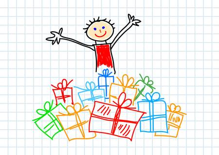 Child with presents Vector
