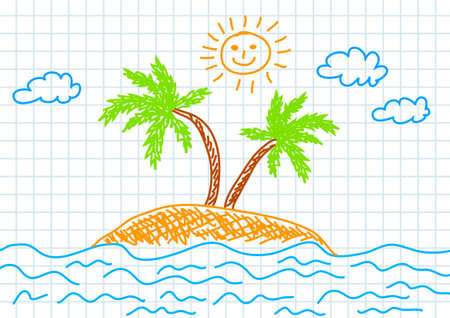 Drawing of island Vector