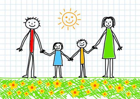 ser padres: Dibujo de la familia