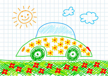 harmless: Drawing of ecological car