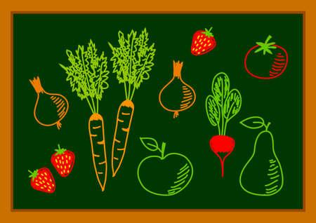 Drawing of healthy food      Vector