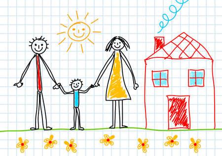 traino: Disegno di famiglia Vettoriali