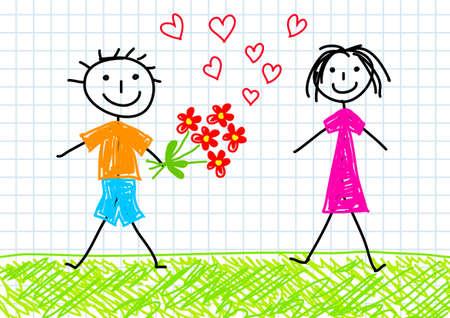 Drawing of children  Vector