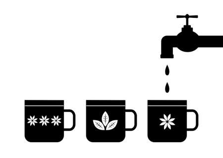 Silhouette of tap and mugs  Vector