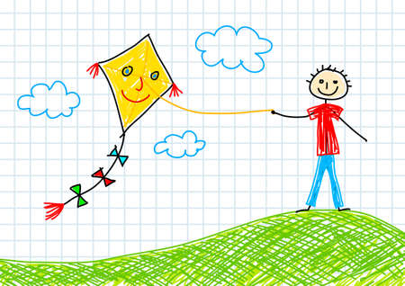 Drawing of boy with kite      Vector