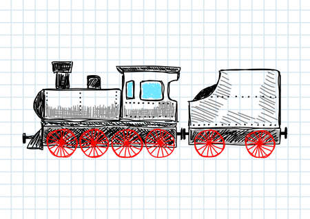 Drawing of locomotive  Vector