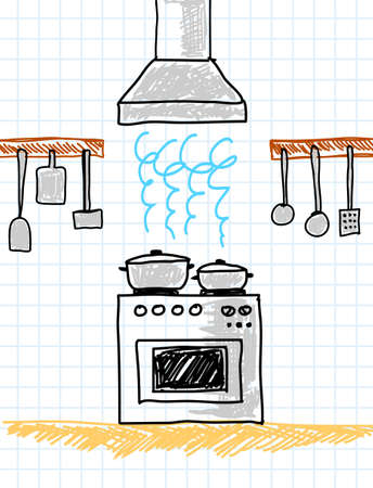 Drawing of kitchen      Illustration