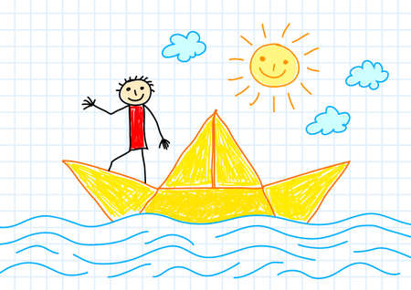Drawing of sailboat Vector