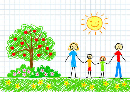 Drawing of family      Stock Vector - 12071139