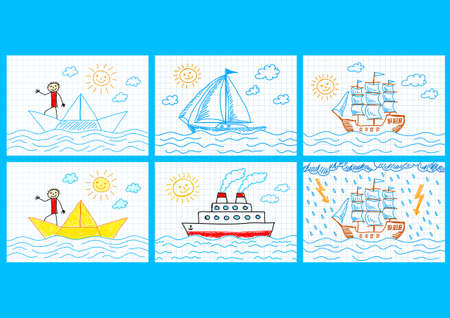 Collection of ships  Vector