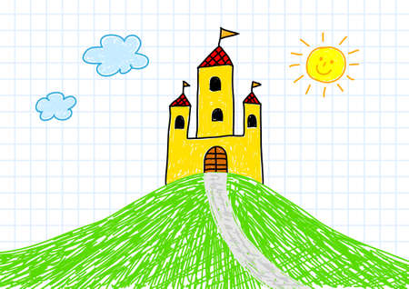 Drawing of yellow castle Vector