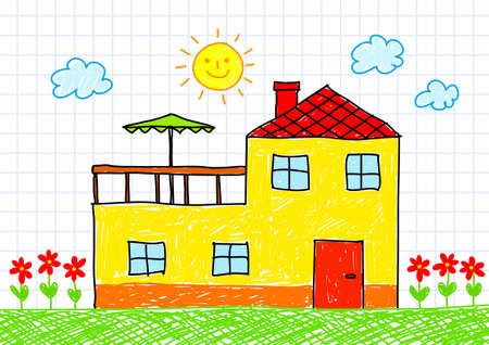 Drawing of yellow house Vector
