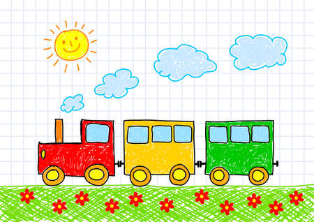 flowered: Drawing of train