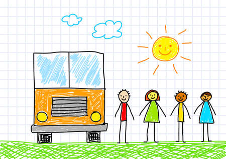 Drawing of school bus  Vector