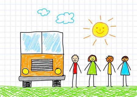 Drawing of school bus  Vector