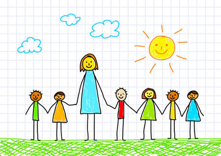 pupils: Teacher with children      Illustration
