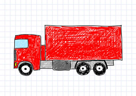 Drawing of red truck Vector