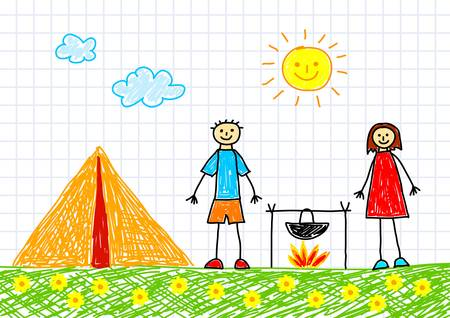 flowered: Drawing of people with tent Illustration