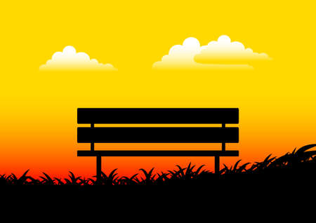 bench alone: Silhouette of bench      Illustration