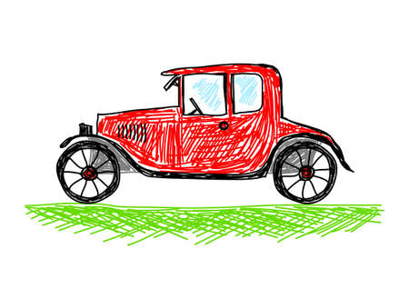 Drawing of red car Stock Vector - 12071217