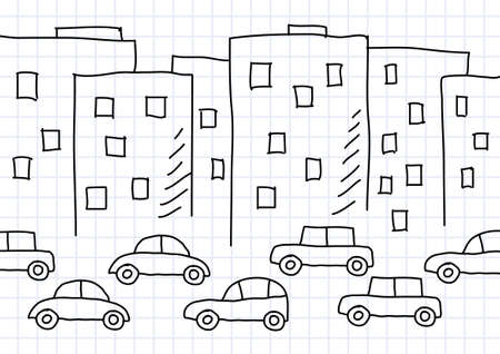 Drawing of buildings and cars  Stock Vector - 12071214
