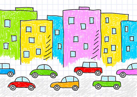 Drawing of buildings and cars Stock Vector - 12063174