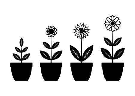 group of plants: Icons of flowers      Illustration