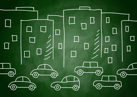 busy street: Drawing of buildings and cars  Illustration