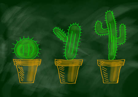Drawing of cactuses  photo
