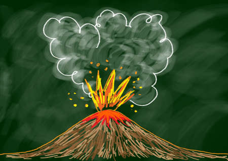Drawing of volcano  photo