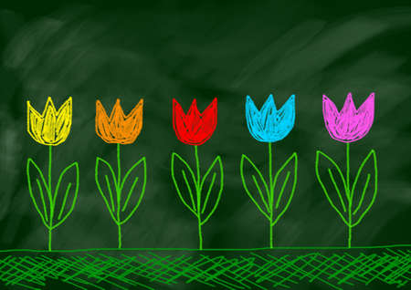 Drawing of tulips  photo